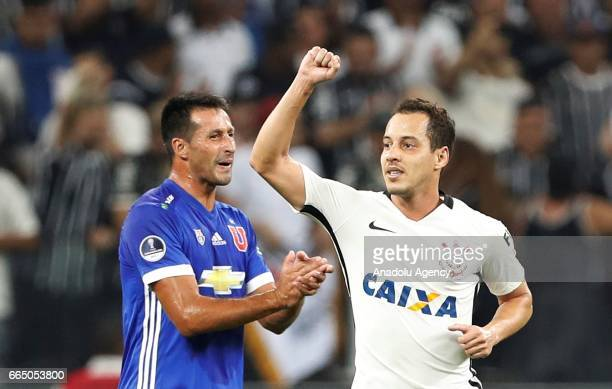 Jadson of Corinthians celebrates his goal during the Copa Sudamericana match between Corinthians and Universidad Chile at the Arena Corinthians...
