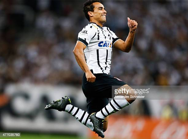 Jadson of Corinthians celebrates their first goal during the match between Corinthians and Internacional for the Brazilian Series A 2015 at Arena...