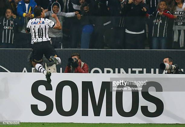 Jadson of Corinthians celebrates their first goal during the match between Corinthians and Ponte Preta for the Brazilian Series A 2015 at Arena...