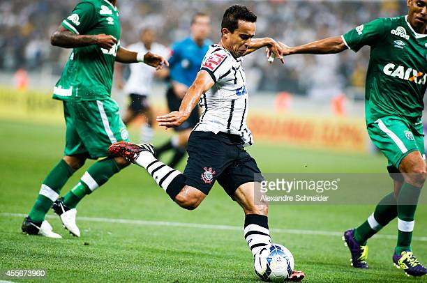 Jadson of Corinthians in action during the match between Corinthians and Chapecoense for the Brazilian Series A 2014 at Arena Corinthians on...