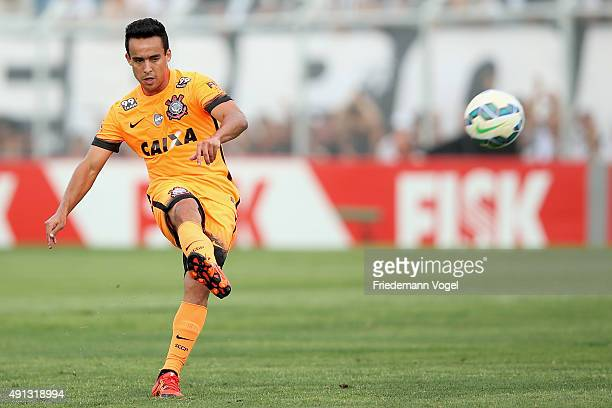 Jadson of Corinthians runs with the ball during the match between Ponte Preta and Corinthians for the Brazilian Series A 2015 at Moises Lucarelli...