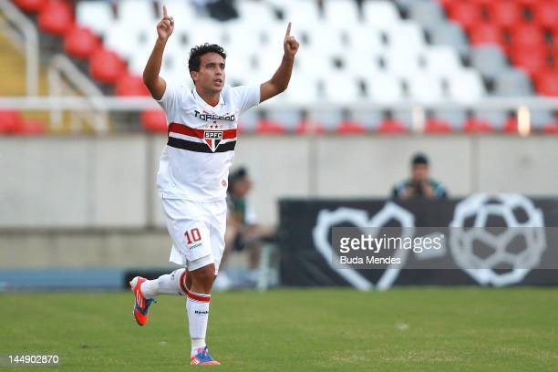 Jadson of Sao Paulo celebrates a scored goal during a match between Sao Paulo and Botafogo as part of Serie A 2012 at Engenhao stadium on May 20 2012...