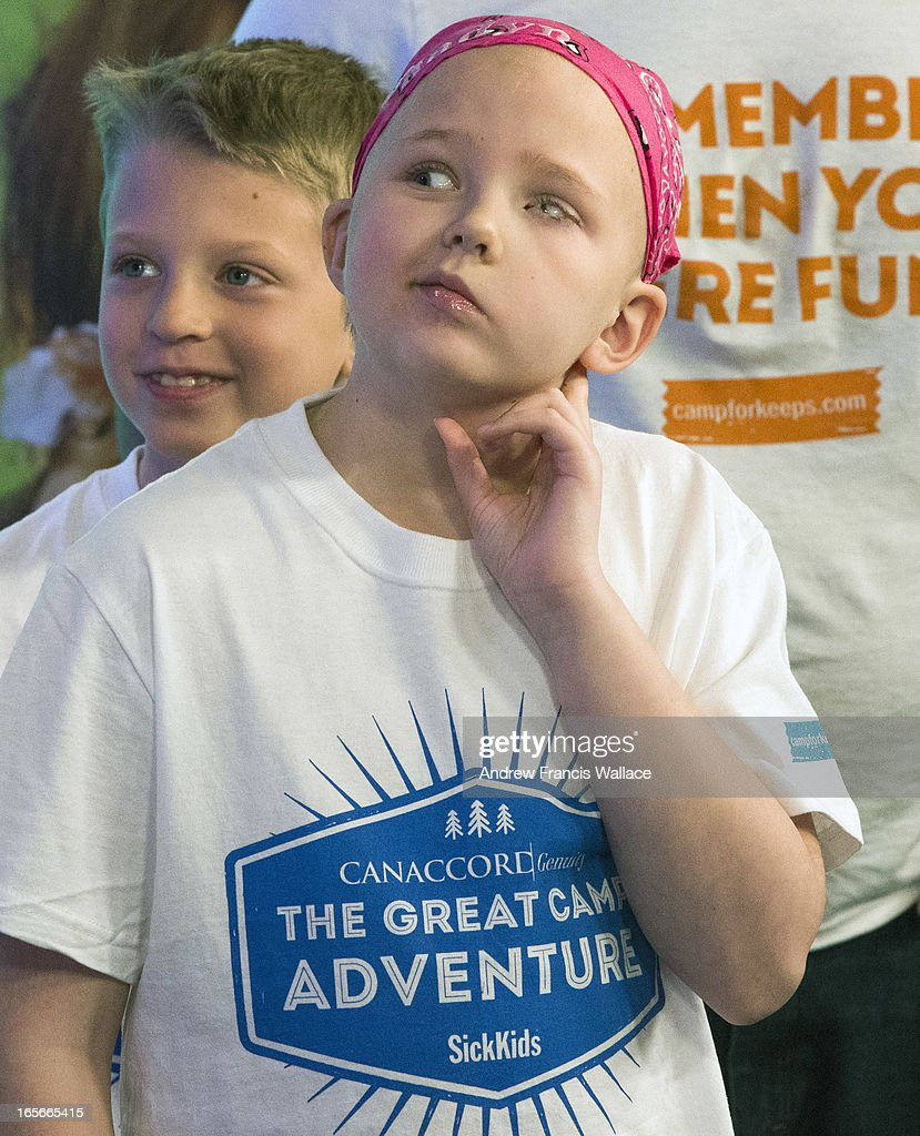 Jadyn Schill, 10, and her brother Austin, 8, during the taping of a promotion for a SickKids sponsored summer camp at Corus Quay studios, March 29, 2013. Jadyn was diagnosed with a rare brain tumour in 2008. She has undergone three brain surgeries to remove her previous tumours, many chemotherapy sessions and 93 rounds of radiation. She is the most radiated child in Canada. Despite this gruelling odyssey, Jadyn is a cheerful, outgoing and feisty little girl.