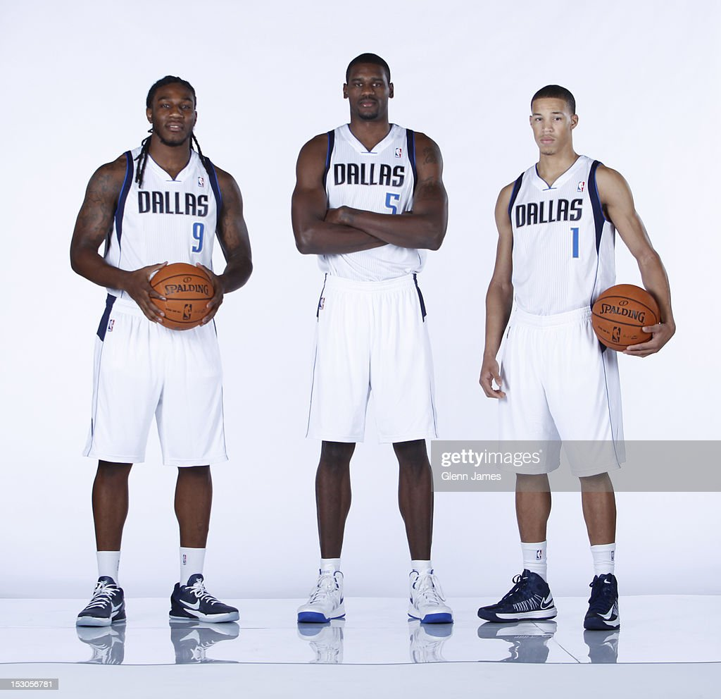 Jae Crowder #9, Bernard James #5 and Jared Cunningham #1 of the Dallas Mavericks pose for a photo during the Dallas Mavericks Media Day on September 28, 2012 at the American Airlines Center in Dallas, Texas.