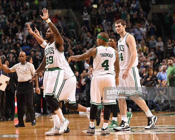 Jae Crowder of the Boston Celtics after he scores the game winning basket against the Toronto Raptors during the game on April 14 2015 at the TD...