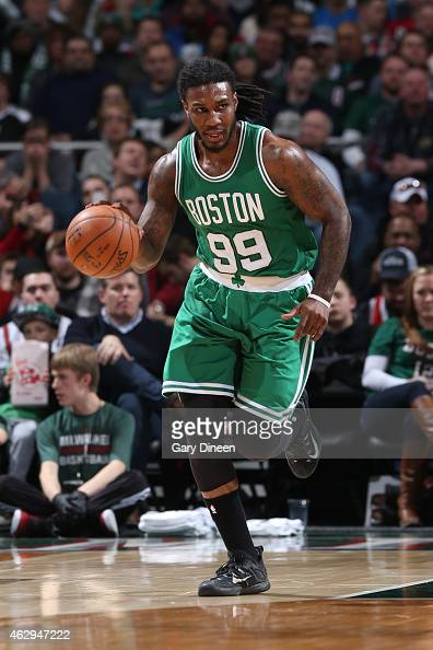 Jae Crowder of the Boston Celtics brings the ball up court against the Milwaukee Bucks on February 7 2015 at the BMO Harris Bradley Center in...