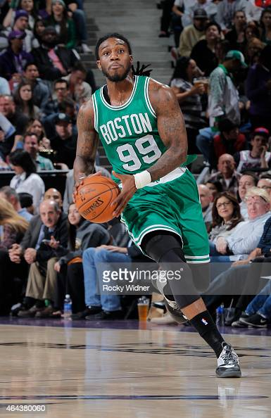 Jae Crowder of the Boston Celtics brings the ball up the court against the Sacramento Kings on February 20 2015 at Sleep Train Arena in Sacramento...