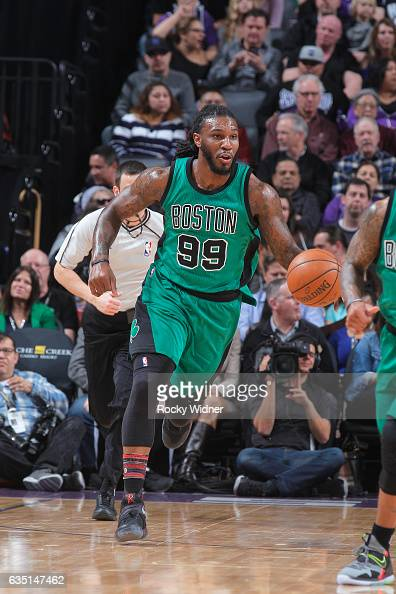 Jae Crowder of the Boston Celtics brings the ball up the court against the Sacramento Kings on February 8 2017 at Golden 1 Center in Sacramento...