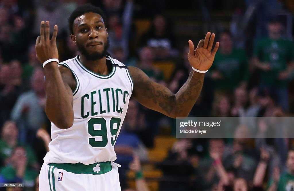 Jae Crowder of the Boston Celtics celebrates after hitting a three point basket during the fourth quarter against the Atlanta Hawks at TD Garden on...