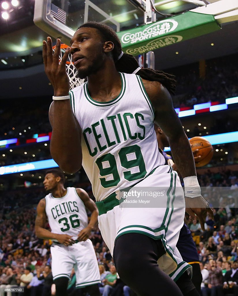 Jae Crowder of the Boston Celtics celebrates after scoring against the Indiana Pacers during the fourth quarter at TD Garden on April 1 2015 in...
