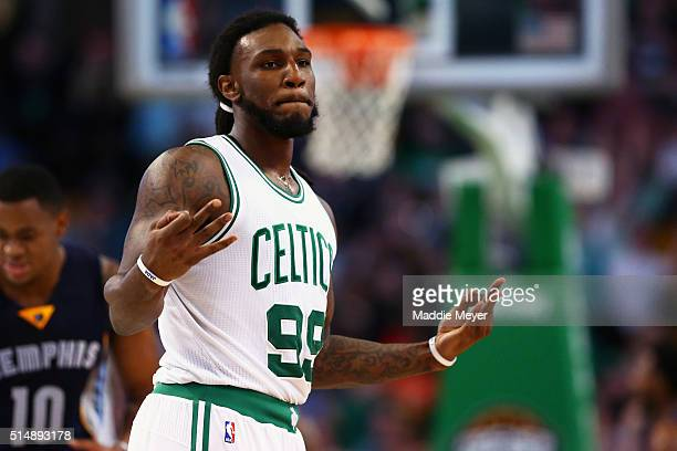 Jae Crowder of the Boston Celtics celebrates after scoring against the Memphis Grizzlies during the second quarter at TD Garden on March 9 2016 in...