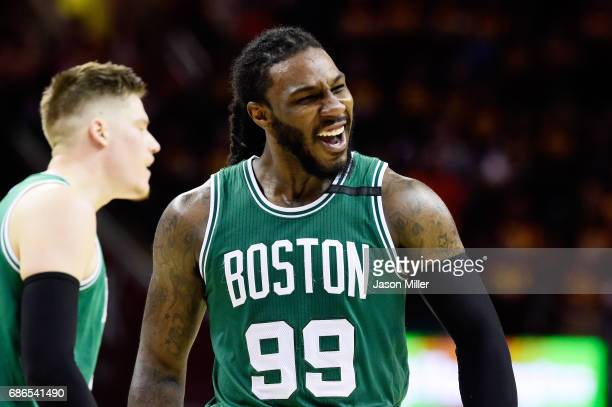 Jae Crowder of the Boston Celtics celebrates after their 111 to 108 win over the Cleveland Cavaliers during Game Three of the 2017 NBA Eastern...