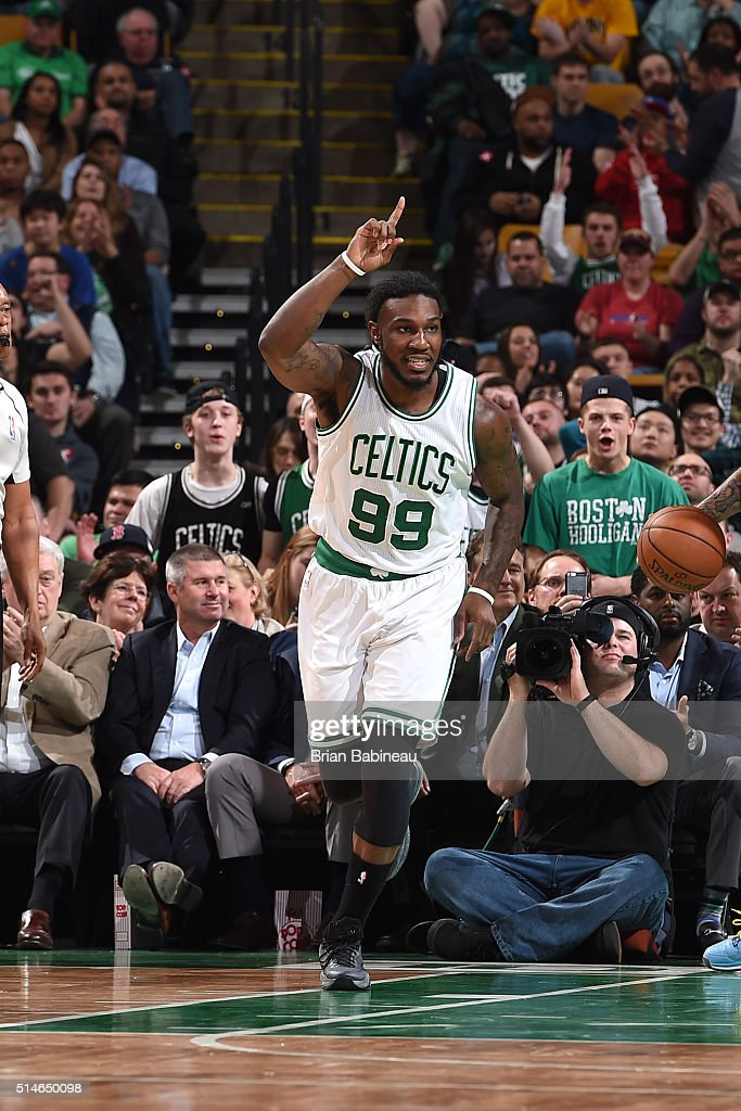 Jae Crowder of the Boston Celtics celebrates during the game against the Memphis Grizzlies on March 9 2016 at the TD Garden in Boston Massachusetts...