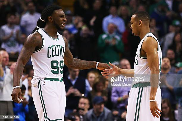 Jae Crowder of the Boston Celtics celebrates with Avery Bradley during the fourth quarter against the Utah Jazz at TD Garden on February 29 2016 in...