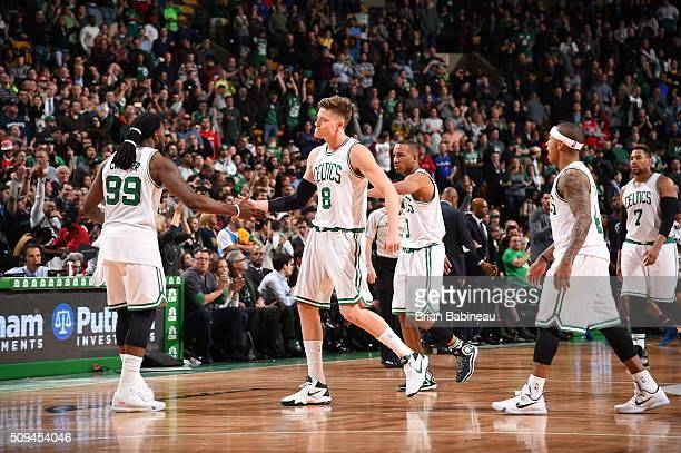 Jae Crowder of the Boston Celtics celebrates with Jonas Jerebko of the Boston Celtics during the game against the Los Angeles Clippers on February 10...
