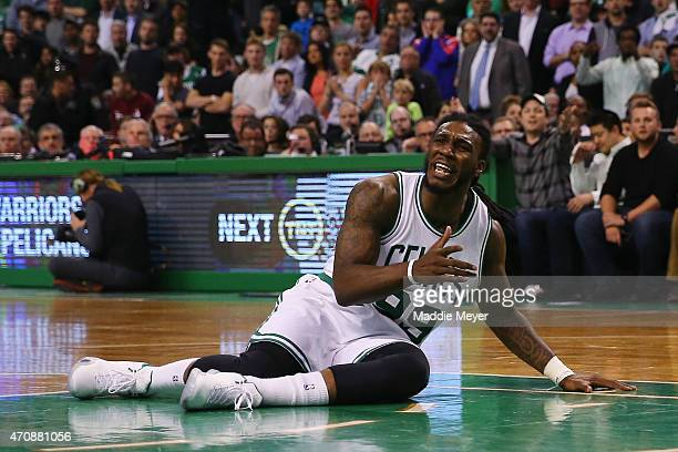 Jae Crowder of the Boston Celtics disputes a call after a foul is called against him during the fourth quarter against the Cleveland Cavaliers in the...