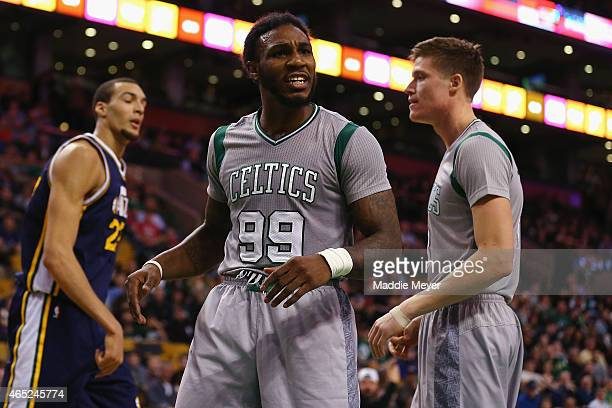 Jae Crowder of the Boston Celtics disputes a call during the fourth quarter against the Utah Jazz at TD Garden on March 4 2015 in Boston...