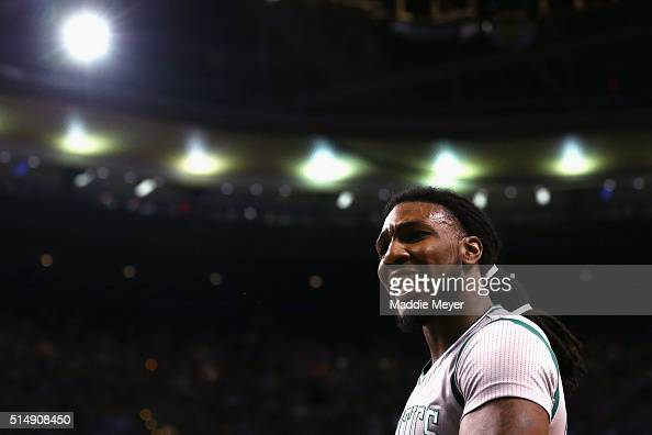 Jae Crowder of the Boston Celtics disputes a call during the second quarter against the Houston Rockets at TD Garden on March 11 2016 in Boston...