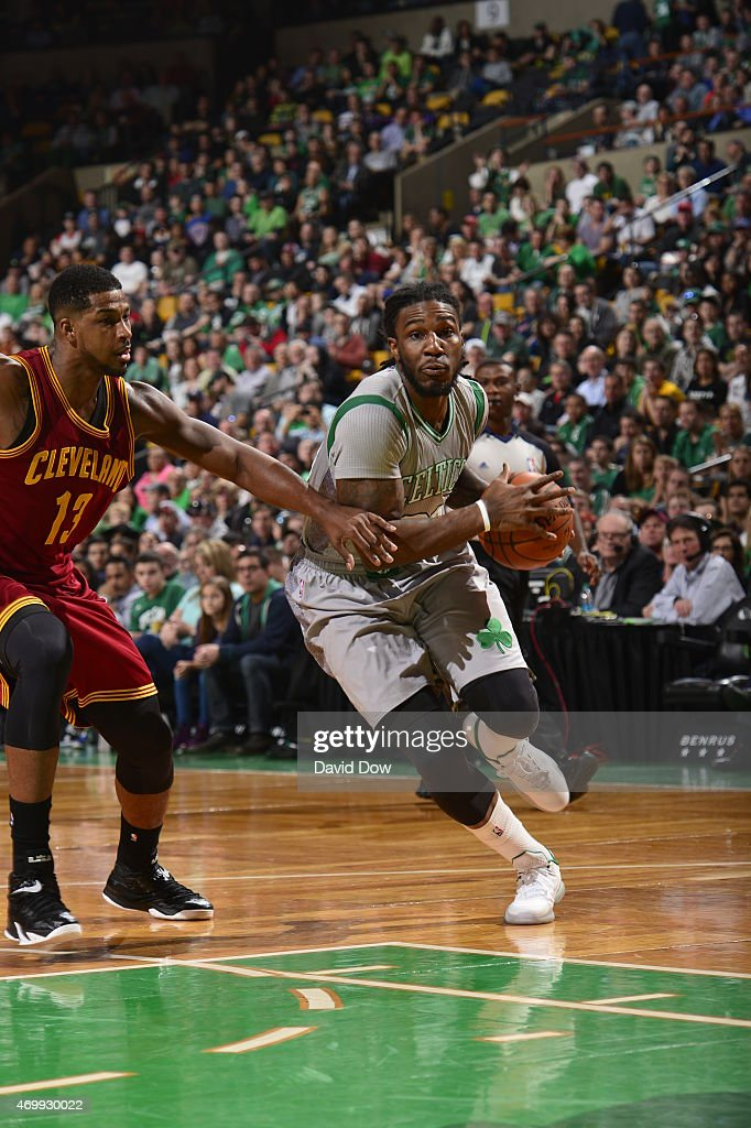 Jae Crowder #99 of the Boston Celtics drives against the Cleveland Cavaliers on April 12, 2015 at the TD Garden in Boston, Massachusetts.