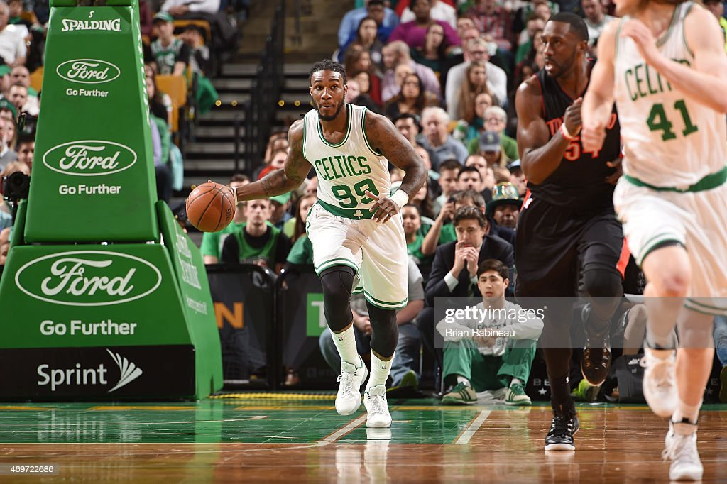 Jae Crowder of the Boston Celtics drives to the basket against the Toronto Raptors during the game on April 14 2015 at the TD Garden in Boston...