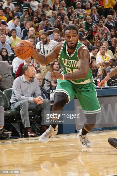 Jae Crowder of the Boston Celtics drives to the basket against the Indiana Pacers during the game on November 4 2015 at Bankers Life Fieldhouse in...