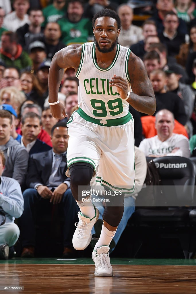 Jae Crowder of the Boston Celtics drives to the basket against the Dallas Mavericks during the game on November 18 2015 at TD Garden in Boston...