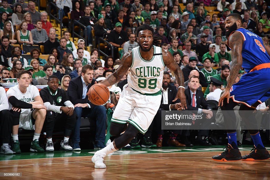 Jae Crowder of the Boston Celtics drives to the basket against the New York Knicks on December 27 2015 at the TD Garden in Boston Massachusetts NOTE...