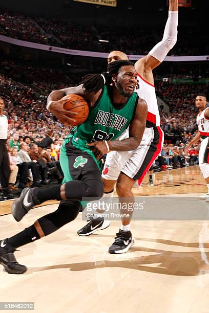 Jae Crowder of the Boston Celtics drives to the basket during the game against the Portland Trail Blazers on March 31 2016 at the Moda Center in...