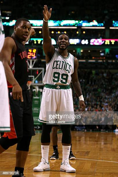 Jae Crowder of the Boston Celtics gestures after the ball went out of bounds in the third quarter against the Toronto Raptors at TD Garden on April...