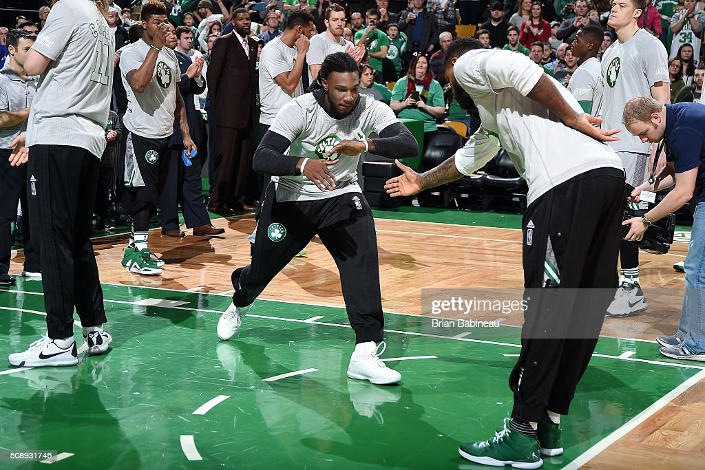 <a gi-track='captionPersonalityLinkClicked' href=/galleries/search?phrase=Jae+Crowder&family=editorial&specificpeople=7357507 ng-click='$event.stopPropagation()'>Jae Crowder</a> #99 of the Boston Celtics gets introduced before the game against the Sacramento Kings on February 7, 2016 at the TD Garden in Boston, Massachusetts.