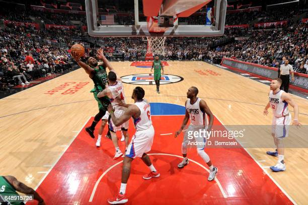Jae Crowder of the Boston Celtics goes to the basket against the Los Angeles Clippers on March 6 2017 at STAPLES Center in Los Angeles California...