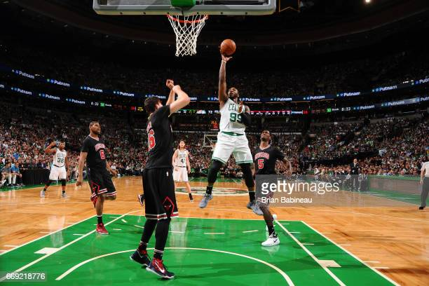 Jae Crowder of the Boston Celtics goes to the basket against the Chicago Bulls during the Eastern Conference Quarterfinals of the 2017 NBA Playoffs...