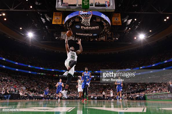 Jae Crowder of the Boston Celtics goes up for a dunk during a game against the Philadelphia 76ers on February 15 2017 at TD Garden in Boston...