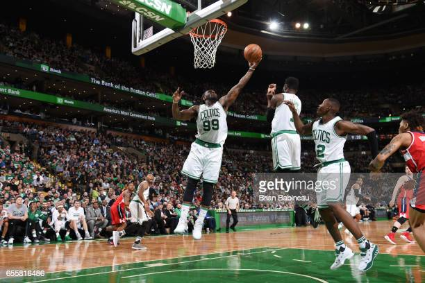 Jae Crowder of the Boston Celtics grabs the rebound against the Washington Wizards on March 20 2017 at the TD Garden in Boston Massachusetts NOTE TO...