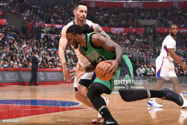 Jae Crowder of the Boston Celtics handles the ball against the Los Angeles Clippers on March 6 2017 at STAPLES Center in Los Angeles California NOTE...