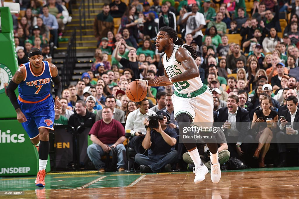 Jae Crowder of the Boston Celtics handles the ball against the New York Knicks during a preseason game on October 22 2015 at the TD Garden in Boston...