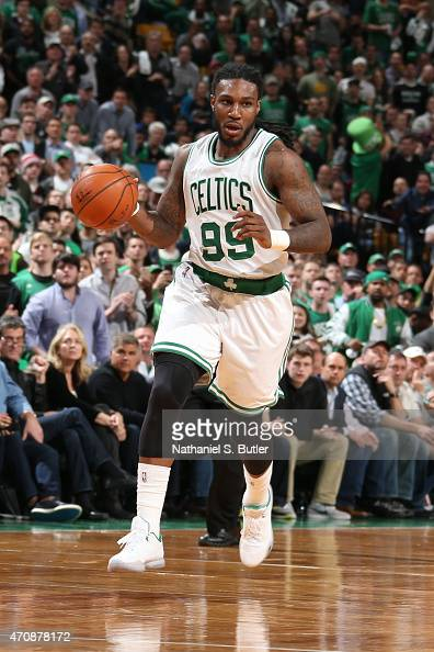 Jae Crowder of the Boston Celtics handles the ball against the Cleveland Cavaliers during Game Three of the Eastern Conference Quarterfinals of the...