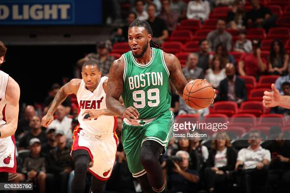 Jae Crowder of the Boston Celtics handles the ball during a game against the Miami Heat on November 28 2016 at American Airlines Arena in Miami...