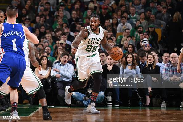 Jae Crowder of the Boston Celtics handles the ball during a game against the Philadelphia 76ers on February 15 2017 at TD Garden in Boston...