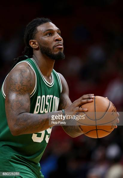 Jae Crowder of the Boston Celtics in action during the game against the Miami Heat at the American Airlines Arena on December 18 2016 in Miami...