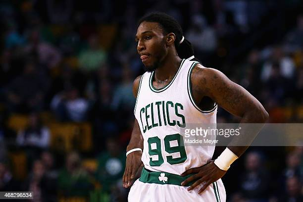 Jae Crowder of the Boston Celtics looks on during the fourth quarter against the Indiana Pacers at TD Garden on April 1 2015 in Boston Massachusetts...
