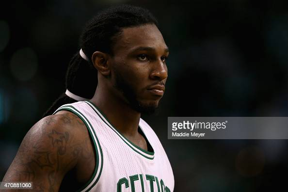 Jae Crowder of the Boston Celtics looks on during the fourth quarter against the Cleveland Cavaliers in the first round of the 2015 NBA Playoffs at...
