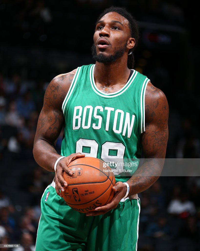 Jae Crowder of the Boston Celtics prepares to shoot against the Brooklyn Nets during the preseason game on October 14 2015 at Barclays Center in...