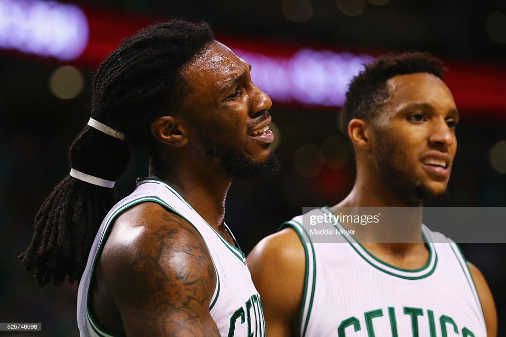 Jae Crowder #99 of the Boston Celtics reacts after receiving his 6th personal foul against the Atlanta Hawks during the fourth quarter of Game Six of the Eastern Conference Quarterfinals during the 2016 NBA Playoffs at TD Garden on April 28, 2016 in Boston, Massachusetts. The Hawks defeat the Celtics 104-92. NOTE TO USER User expressly acknowledges and agrees that, by downloading and or using this photograph, user is consenting to the terms and conditions of the Getty Images License Agreement.