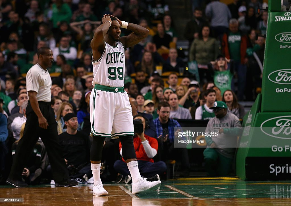 Jae Crowder #99 of the Boston Celtics reacts during overtime at TD Garden on March 22, 2015 in Boston, Massachusetts. The Pistons defeat the Celtics 105-97.