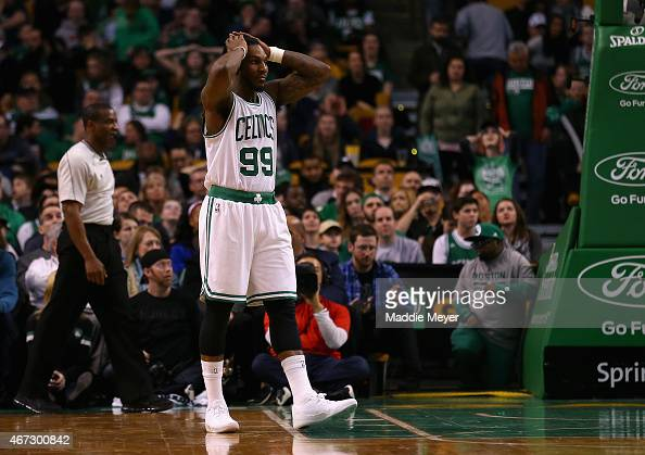Jae Crowder of the Boston Celtics reacts during overtime at TD Garden on March 22 2015 in Boston Massachusetts The Pistons defeat the Celtics 10597...