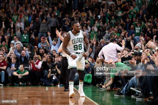 Jae Crowder of the Boston Celtics reacts during the game against the Cleveland Cavaliers on March 1 2017 at the TD Garden in Boston Massachusetts...