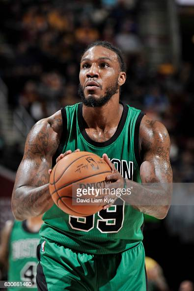 Jae Crowder of the Boston Celtics shoots a free throw during a game against the Cleveland Cavaliers on December 29 2016 at Quicken Loans Arena in...