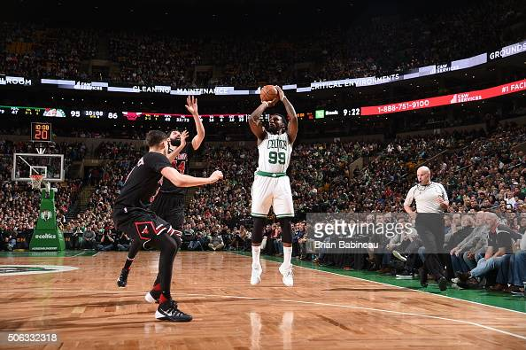 Jae Crowder of the Boston Celtics shoots against the Chicago Bulls on January 22 2016 at the TD Garden in Boston Massachusetts NOTE TO USER User...