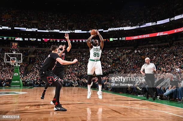 Jae Crowder of the Boston Celtics shoots against the Chicago Bulls on January 22 2016 at the TD Garden in Boston Massachusetts NOTE TO USER User...